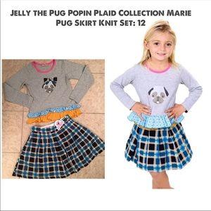 Jelly the Pug Popin Plaid Marie Pug Knit Set: 12